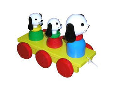 Wooden Dog and Puppies Pull Along Baby Toy