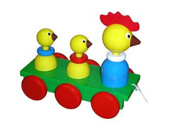 Wooden Hen and Chicks Pull Along Baby Toy