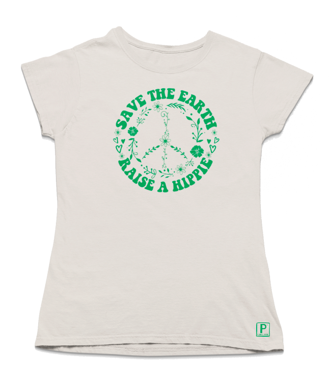 Save the Earth, Raise A Hippy - Women's Hemp graphic T