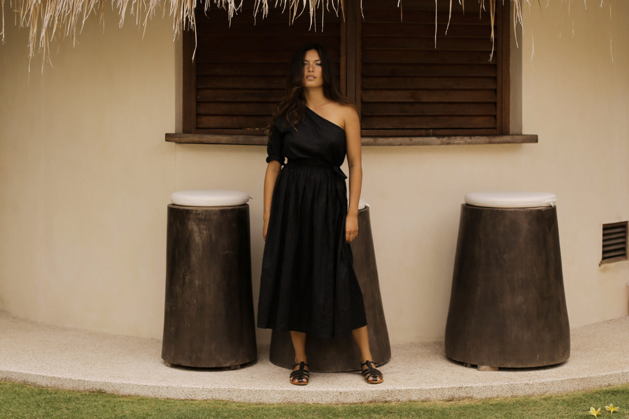 Beach Club One Shoulder Dress Black