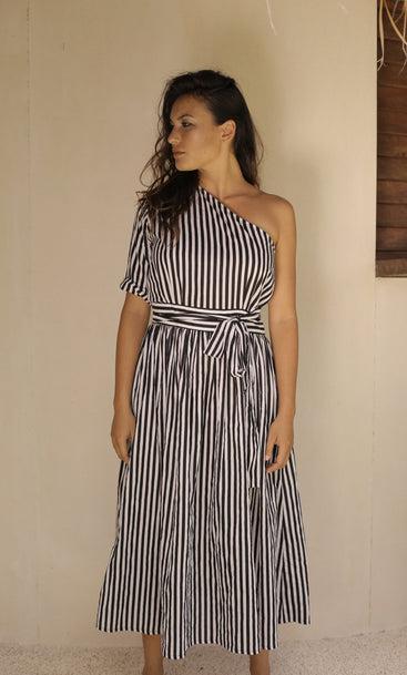 Beach Club One Shoulder Dress Stripe