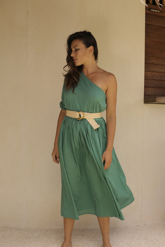 Beach Club One Shoulder Dress Island Green