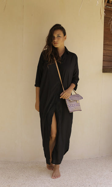 Beach Club Maxi Shirt Black