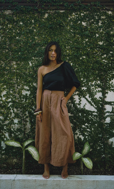 ISLAND BUSINESS WIDE LEG PANT Tabacco