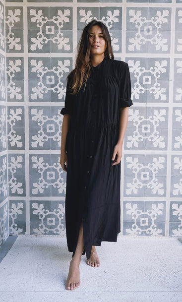 Island Nites Shirt Dress Black