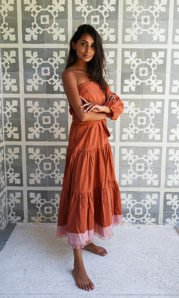 ISLAND RODEO ONE SHOULDER DRESS Cinnamon & Sunset Pink