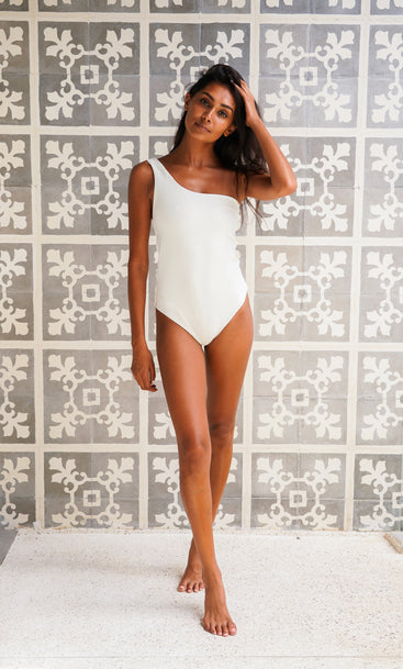 Island Crush Swim One Shoulder White