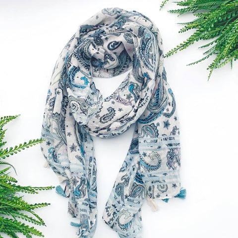 Summer Scarf - Blue Paisley
