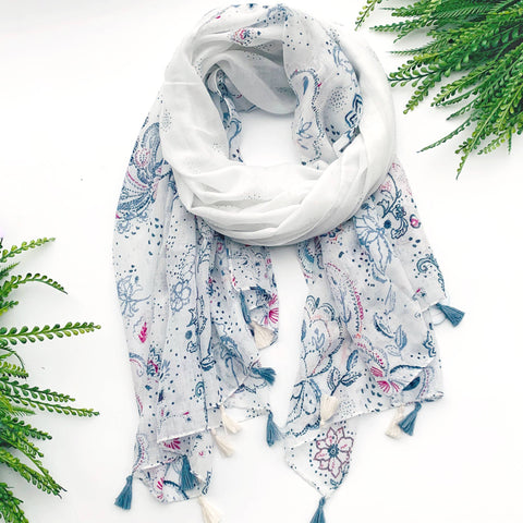 Summer Scarf - Blue White Floral