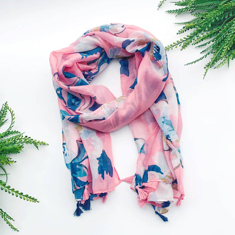 Summer Scarf - Pink Blue Flowers