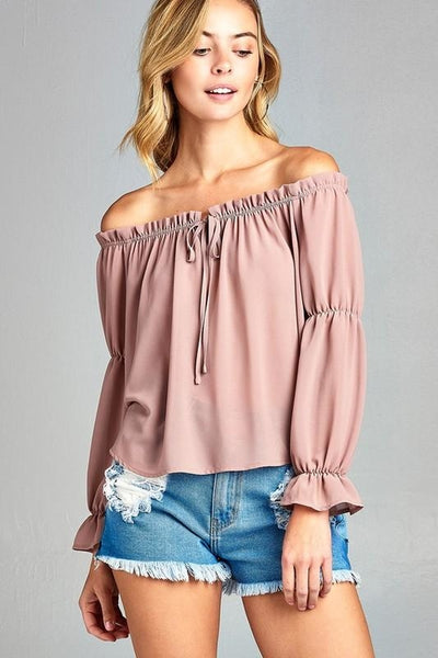 Women's Off Shoulder Ruffled Top