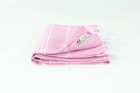 Pink Turkish Classic Striped Peshtemal Towel