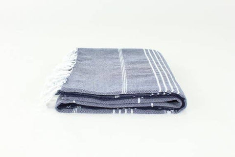 Dark Navy Blue Turkish Classic Striped Peshtemal Towel