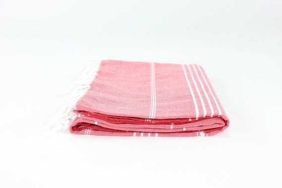 Red Turkish Classic Striped Peshtemal Towel