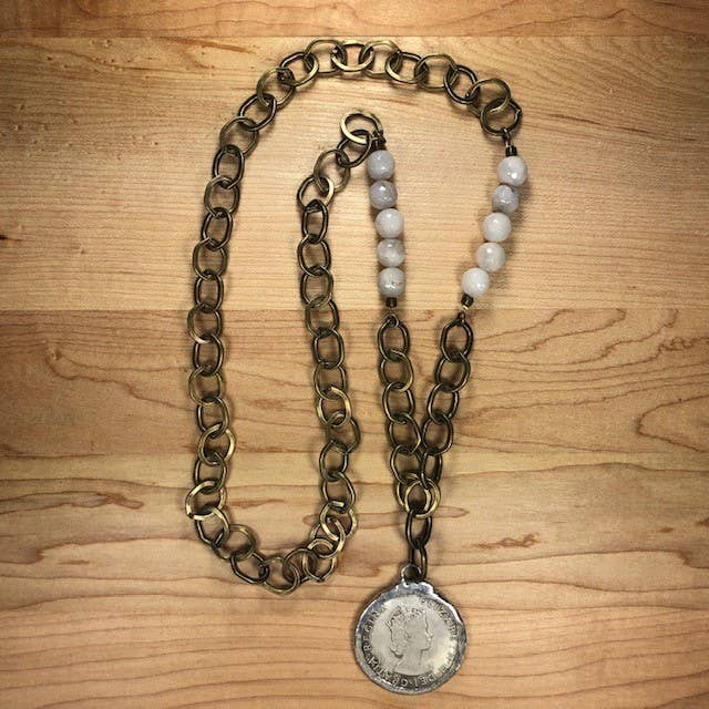 White Agate & Antique Brass Elizabeth Coin Necklace