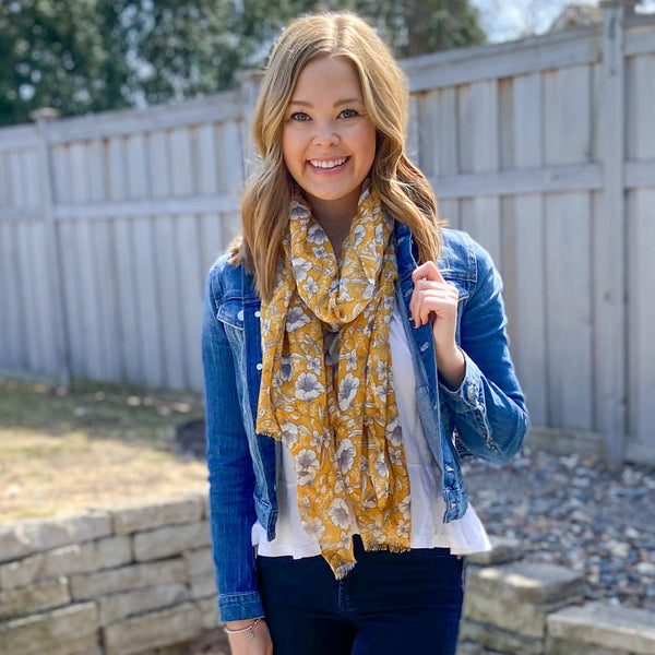 Summer Scarf - Yellow Floral