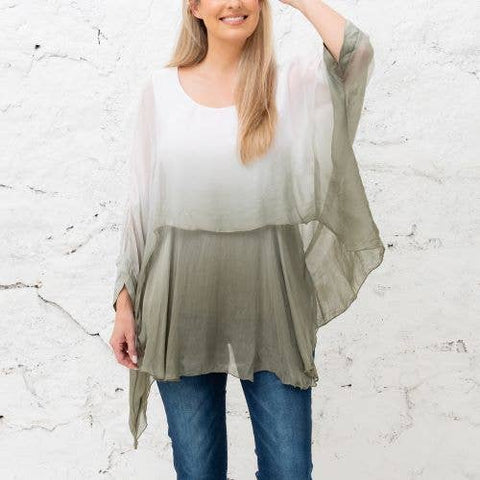 Katerina - Sage Gradient Two Layer Silk Top (Featured in Oprah's Magazine)