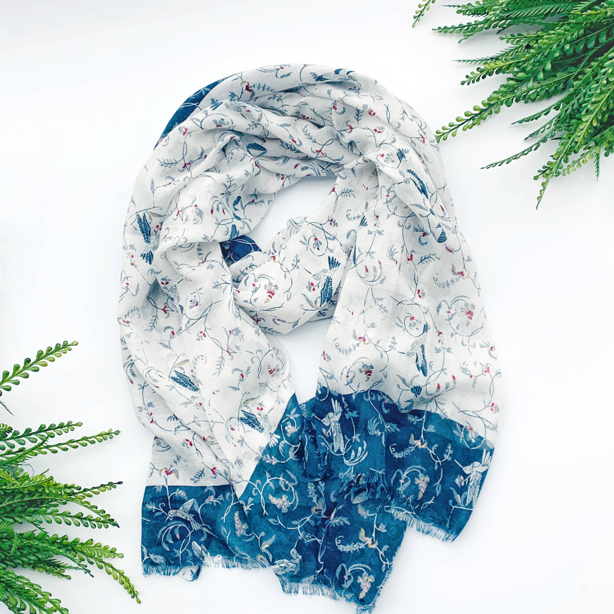 Summer Scarf - White Floral