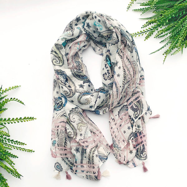Summer Scarf - Black Paisley