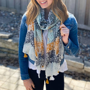 Summer Scarf - Blue Yellow Flowers