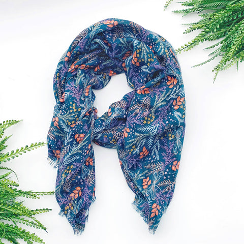 Summer Scarf - Blue Ferns