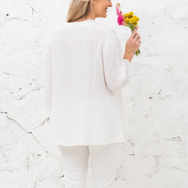 Abigail White 3/4 Sleeve Loose Weave Linen
