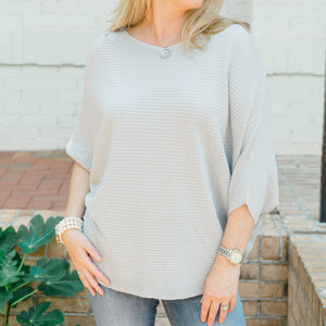 Claudia - Grey Soft Ribbed Knit Pullover