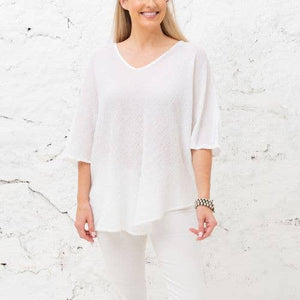 Andrea White Breathable Crinkle Linen Top