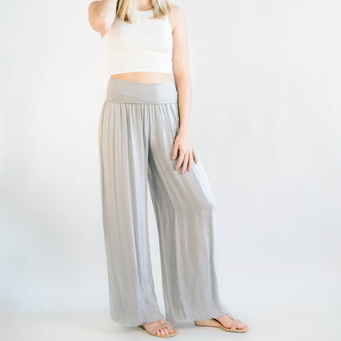 Celine Grey Italian Silk Pants