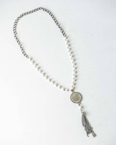 Pearl and Coin Tassel Necklace