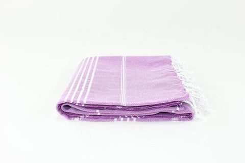 Purple Turkish Classic Striped Peshtemal Towel