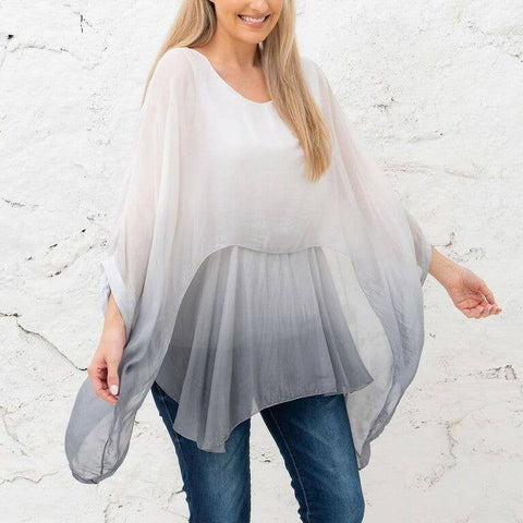 Katerina - Grey Gradient Two Layer Silk Top (Featured in Oprah's Magazine)