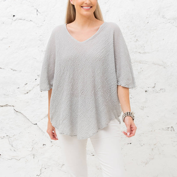 Andrea Paprika Color Breathable Crinkle Linen Top