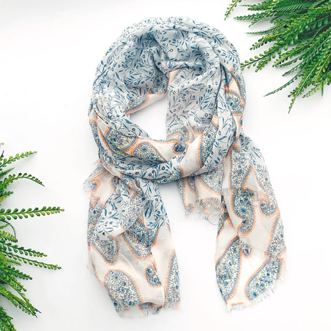 Summer Scarf - Blue Yellow Paisley