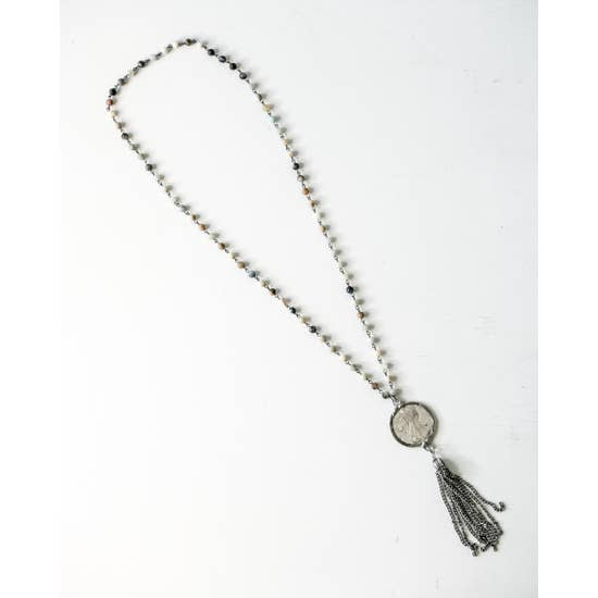 Amazonite and Coin Tassel Necklace