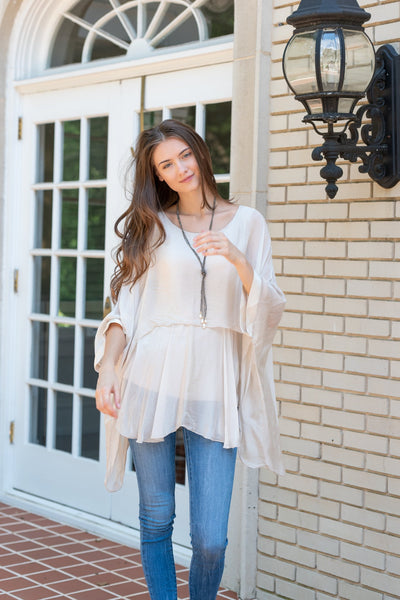 Katerina - Beige Two Layer Silk Top (Featured in Oprah's Magazine)