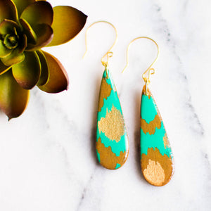 Handcrafted Aqua Gold Earrings