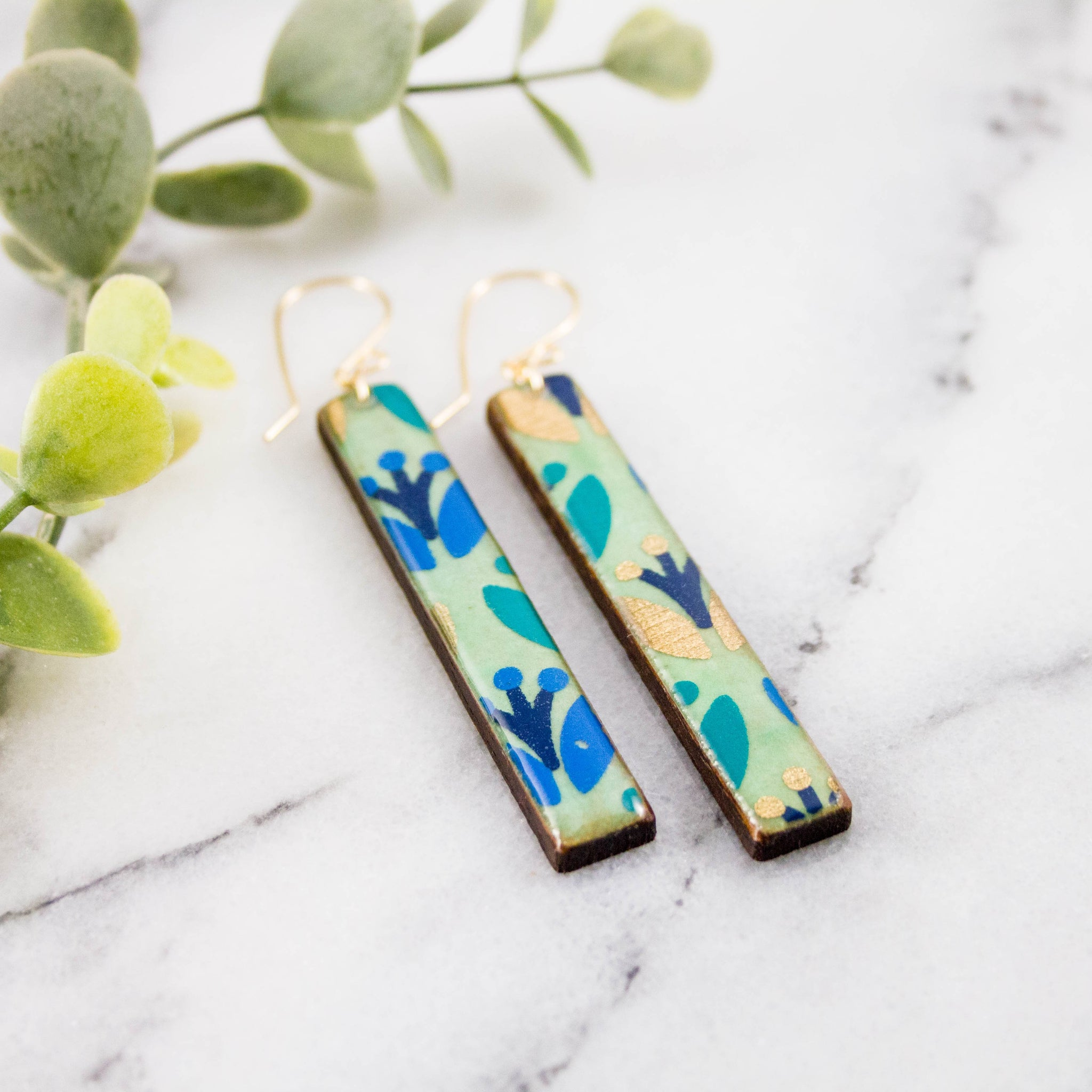 Handmade Blue Forest Bar Earrings