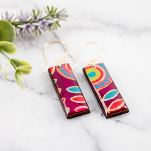 Modern Purple + Gold Rectangle Earrings