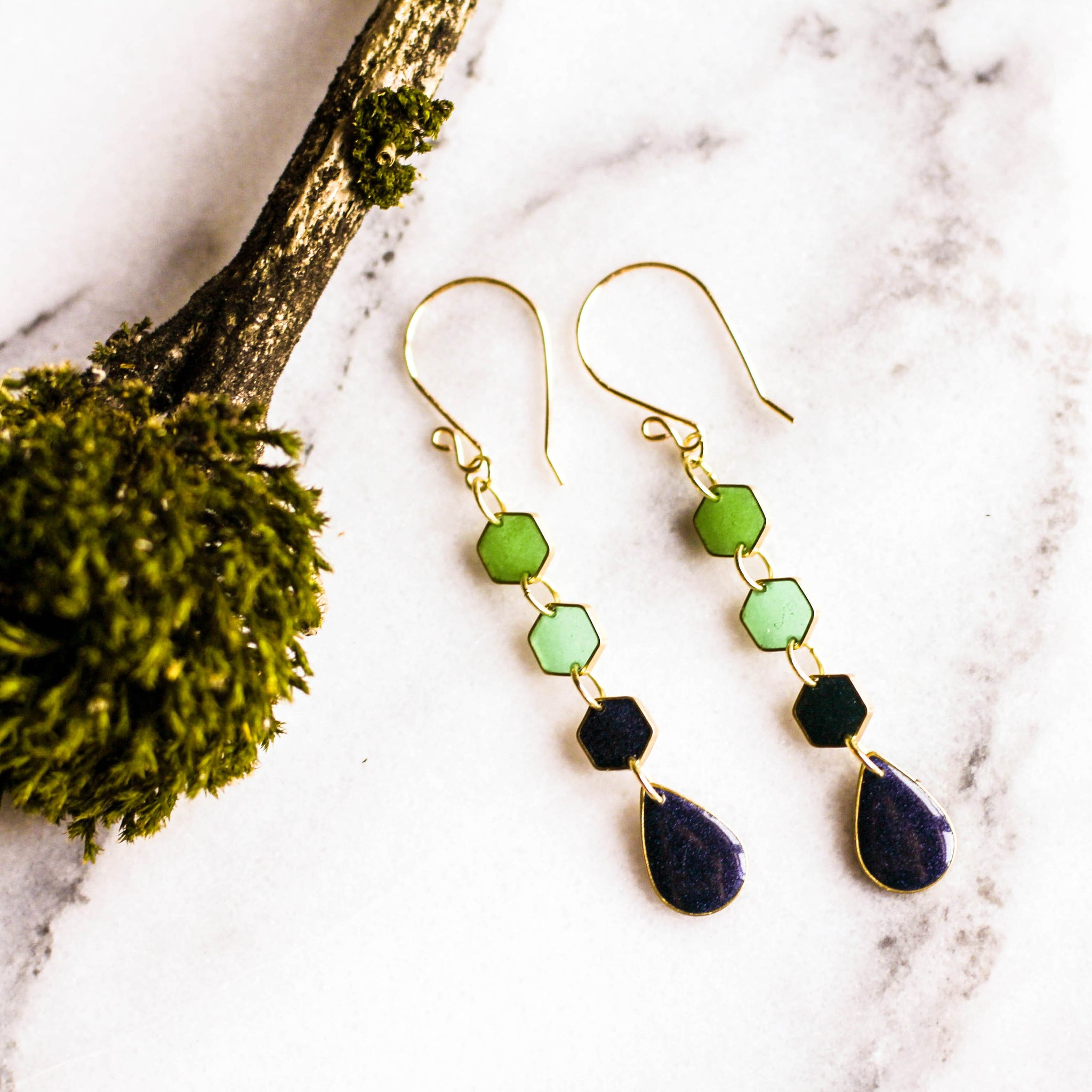 Handmade Evergreen Raindrop Earrings