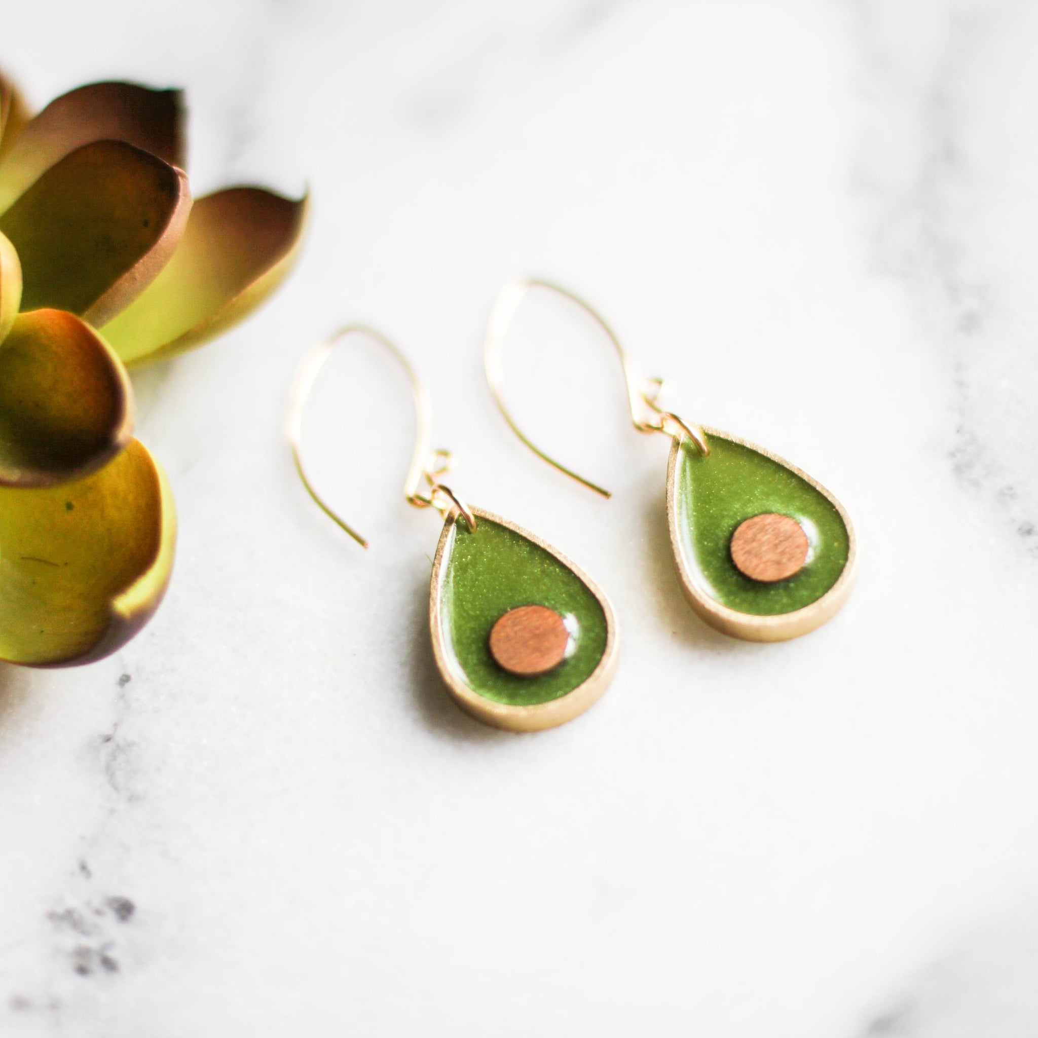 Handmade Green & Gold Brass Wood Earrings