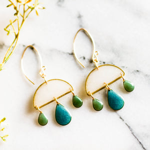 Handmade Teal Green Dangle Earrings