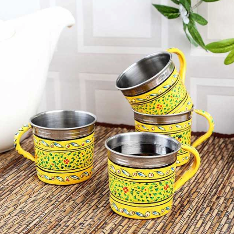 Set of 4 Hand painted Orange Chai Cups