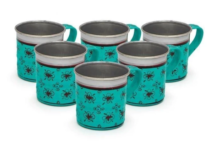 Set of 6 Hand painted Chai Cups from Rajasthan
