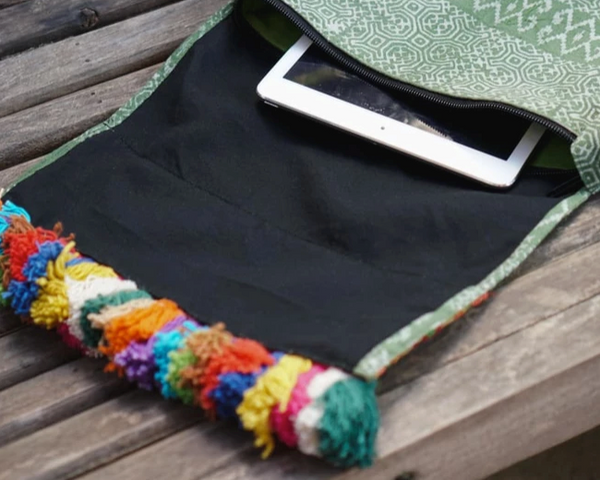 Embroidered Green Cross Body Bag in Fabric