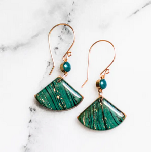 Bottle Green Marble Fan Earrings