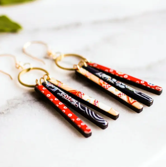 Handmade Red & Blue Collage Fringe Earrings