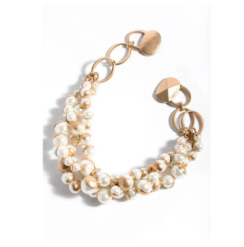 Pearl Gold Half Moon Necklace