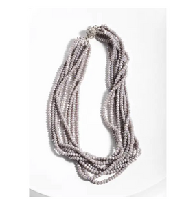 Multi Strand Grey Bead Short Necklace