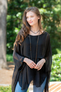 Katerina - Black Two Layer Silk Top (Featured in Oprah's Magazine)